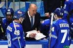Главный тренер ХК Барыс Андрей Скабелка дает наставления во время игры