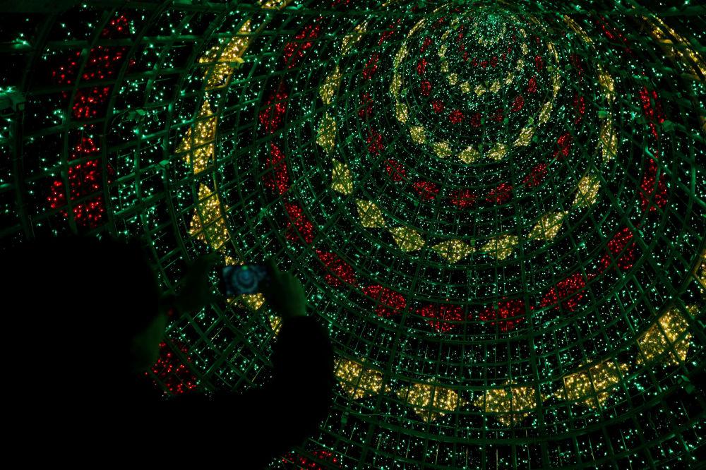 Лиссабон орталығындағы Сауда алаңында орналасқан рождество шыршасы.