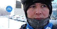 Астанчанин в тридцатиградусный мороз добирается до работы на велосипеде