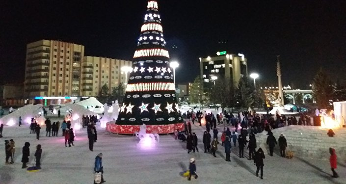 Ледяная фигура певца Димаша появилась в Кокшетау