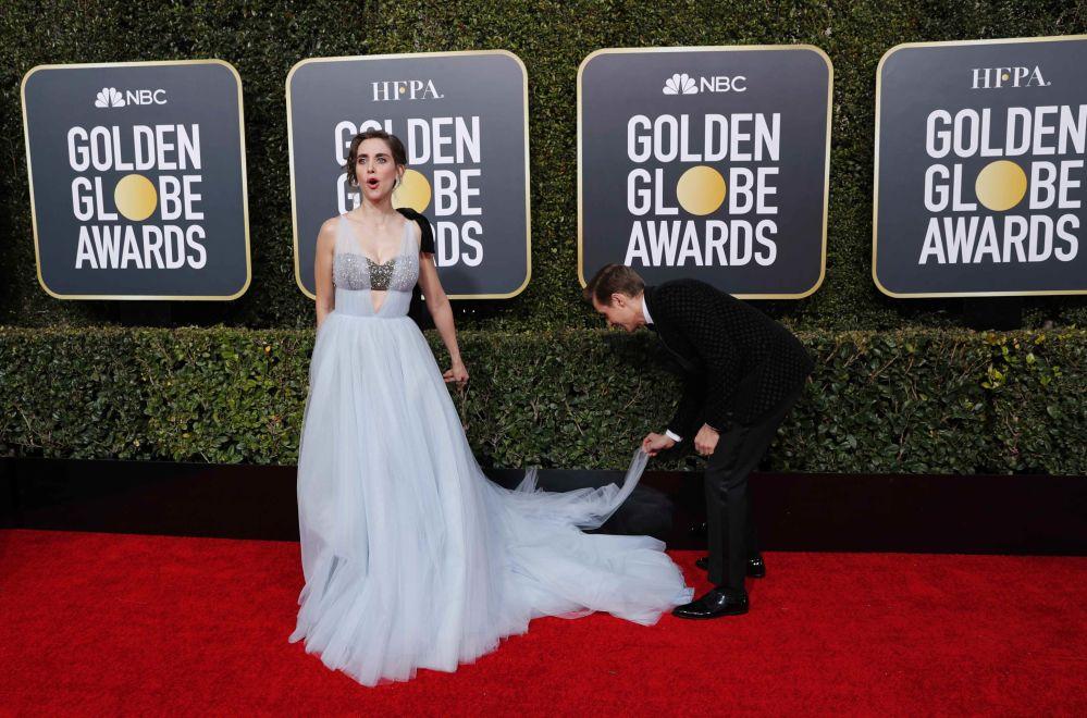 Актриса Элисон Бри и актер Дэвид Франко на церемонии вручения премии Золотой глобус в Калифорнии