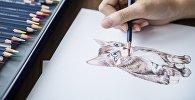 Рисунок с изображением кошки, иллюстративное фото