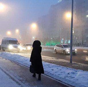Густой туман накрыл Астану