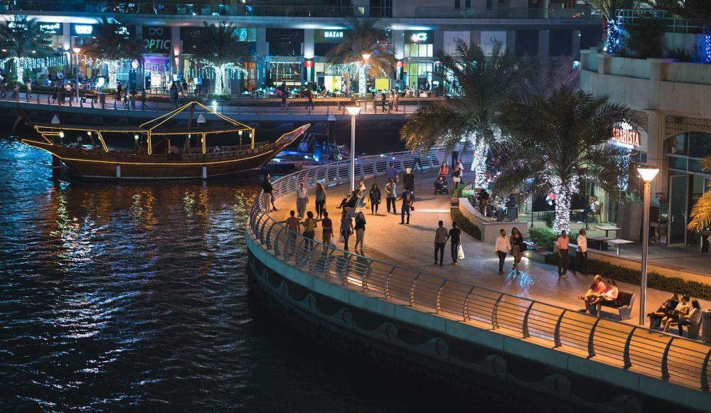 Вид на ночной Дубай, ОАЭ