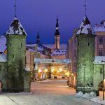 Вид на ночной Таллин, Эстония