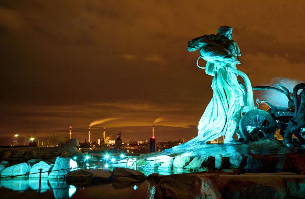 Вид на ночной Копенгаген, Дания