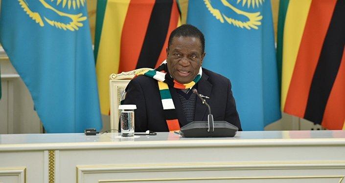 Зимбабве президенті Эммерсон Мнангагва  Ақордадағы кездесу кезінде