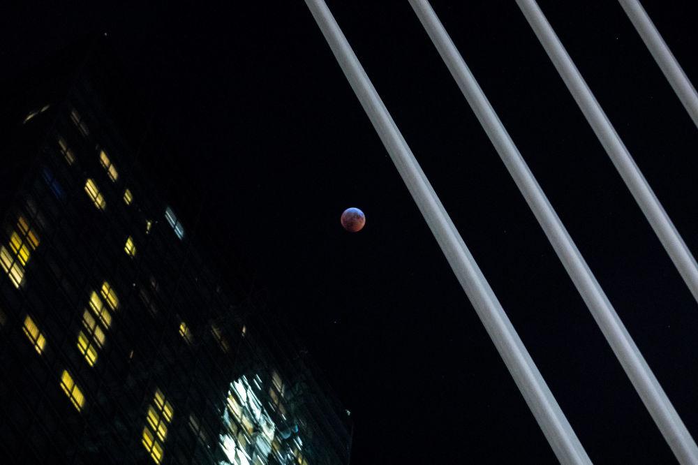 Полное лунное затмение в Нью-Йорке