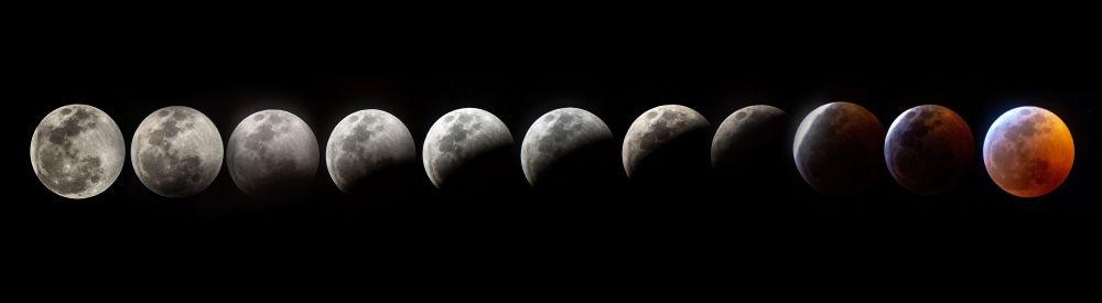 Съемка фаз лунного затмения в США