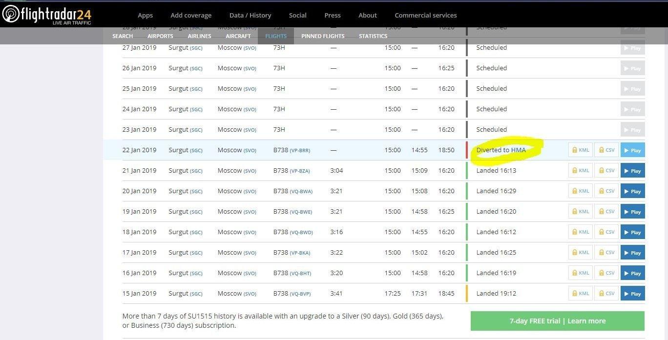 По данным FlightRadar, самолет находится в Ханты-Мансийске