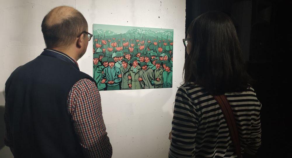 Экспозиция называется Дурные шутки, работа Erden Zikibay