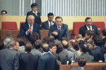 Михаил Горбачев и Нурсултан Назарбаев в президиуме ХХVIII съезда КПСС, 1990 год