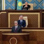 Историческое совместное заседание палат парламента РК: на трибуне Нурсултан Назарбаев (сверху), Нурлан Нигматулин (в центре), Касым-Жомарт Токаев
