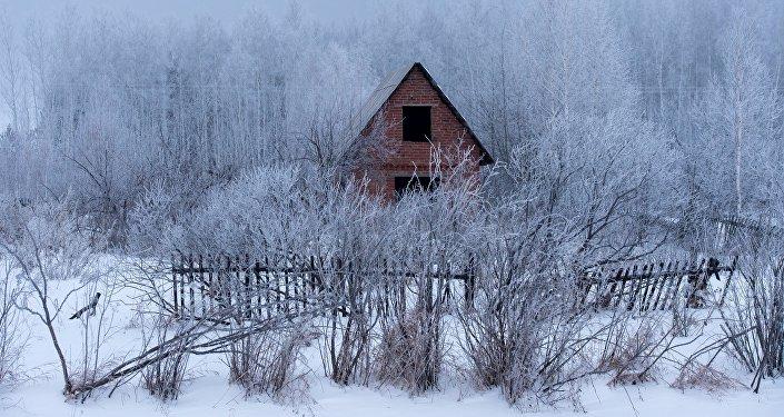 Архивное фото дачного поселка зимой