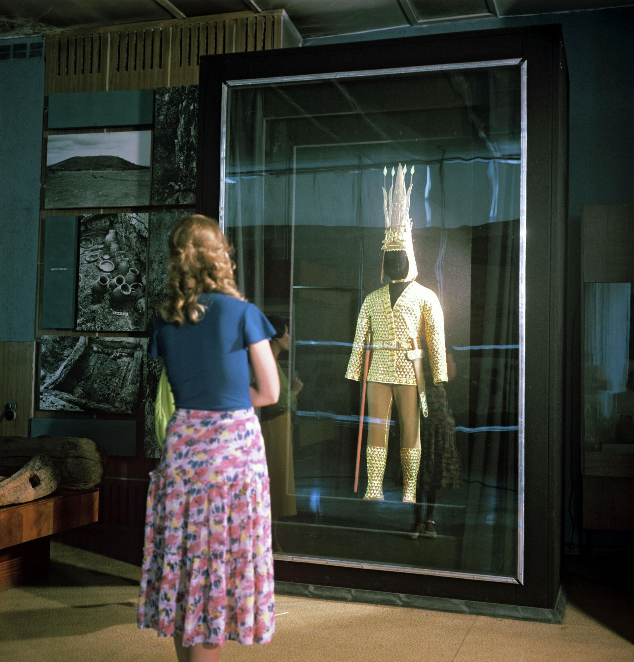 Стенд Золотой человек в Центральном государственном музее Казахстана, архивное фото