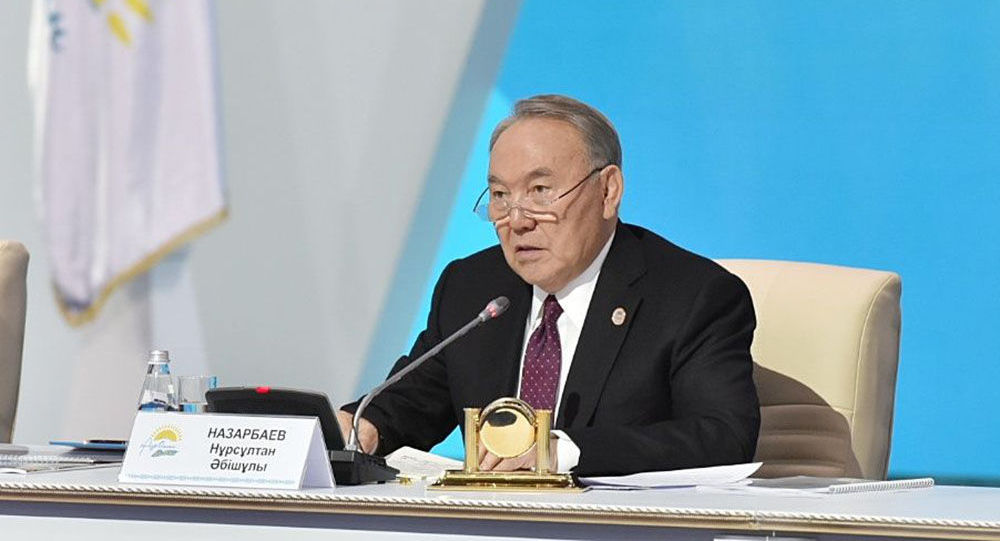 Нурсултан Назарбаев на съезде партии Нур Отан