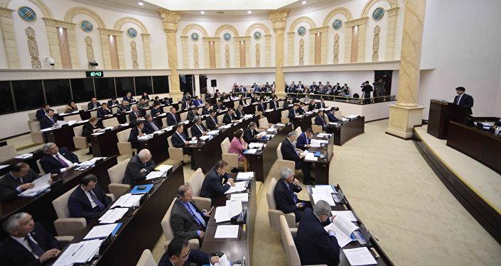 Депутаты сената парламента Казахстана на пленарном заседании