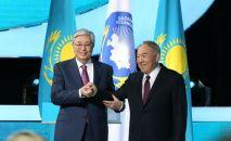 Елбасы Нурсултан Назарбаев и президент Казахстана Касым-Жомарт Токаев на заседании XXVII сессии Ассамблеи народа Казахстана