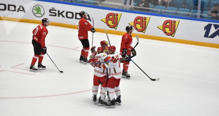 Матч между сборными Беларуси и Литвы в рамках чемпионата мира по хоккею в первом дивизионе