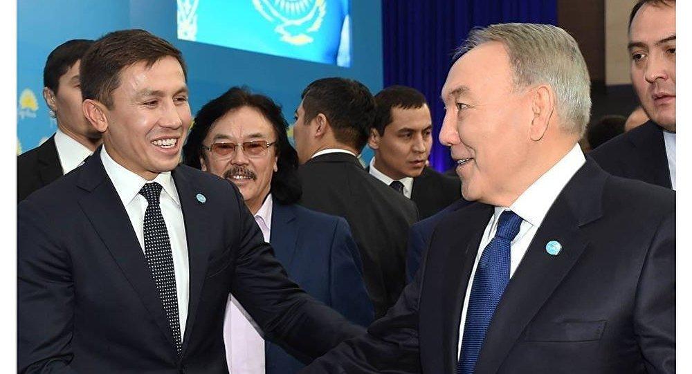 Архивное фото Нурсултана Назарбаева и Геннадия Головкина