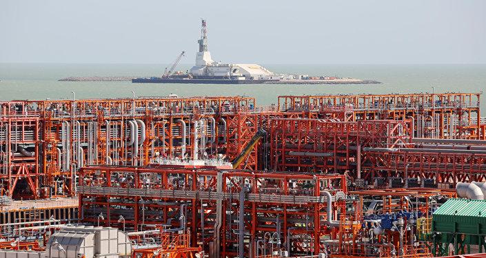 Архивное фото Кашаганского морского месторождения нефти в Каспийском море на западе Казахстана