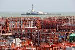 На Кашаганском морском месторождении нефти в Каспийском море на западе Казахстана