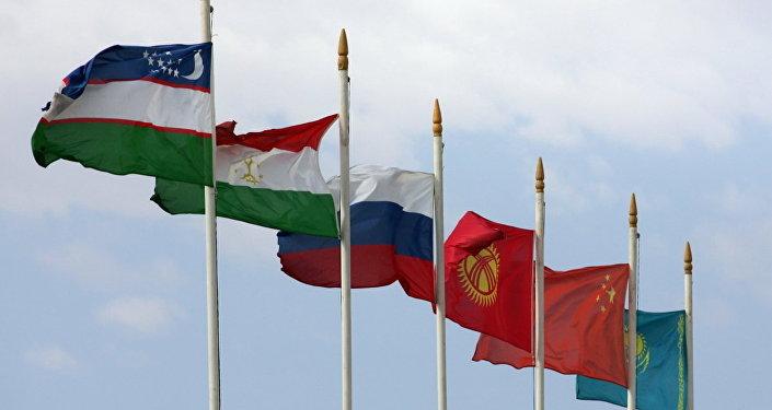 Флаги стран Шанхайской организации сотрудничества (ШОС)