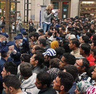 Беженцы на вокзале Келети в Будапеште